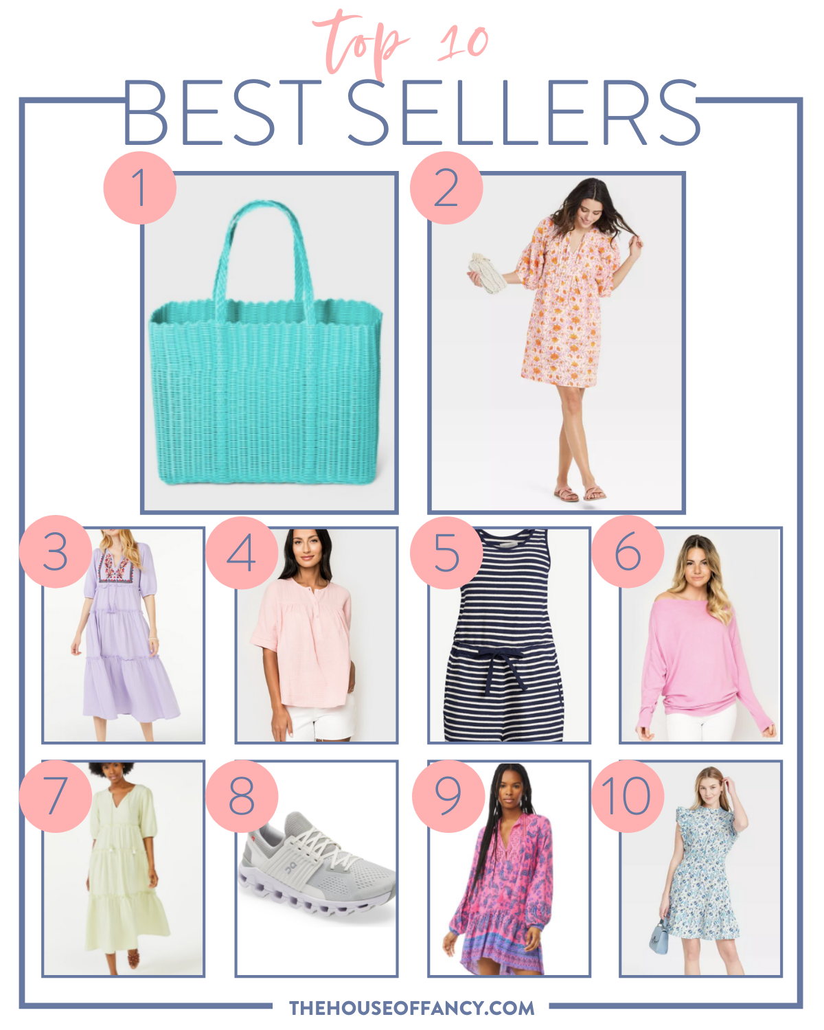 Best Sellers by popular Houston fashion blog, The House of Fancy: collage image of a blue and white stripe romper, tiered maxi dresses, grey athletic sneakers, blue floral print flutter sleeve dress, long sleeve pink shirt, floral print princess sleeve dress and woven blue tote.