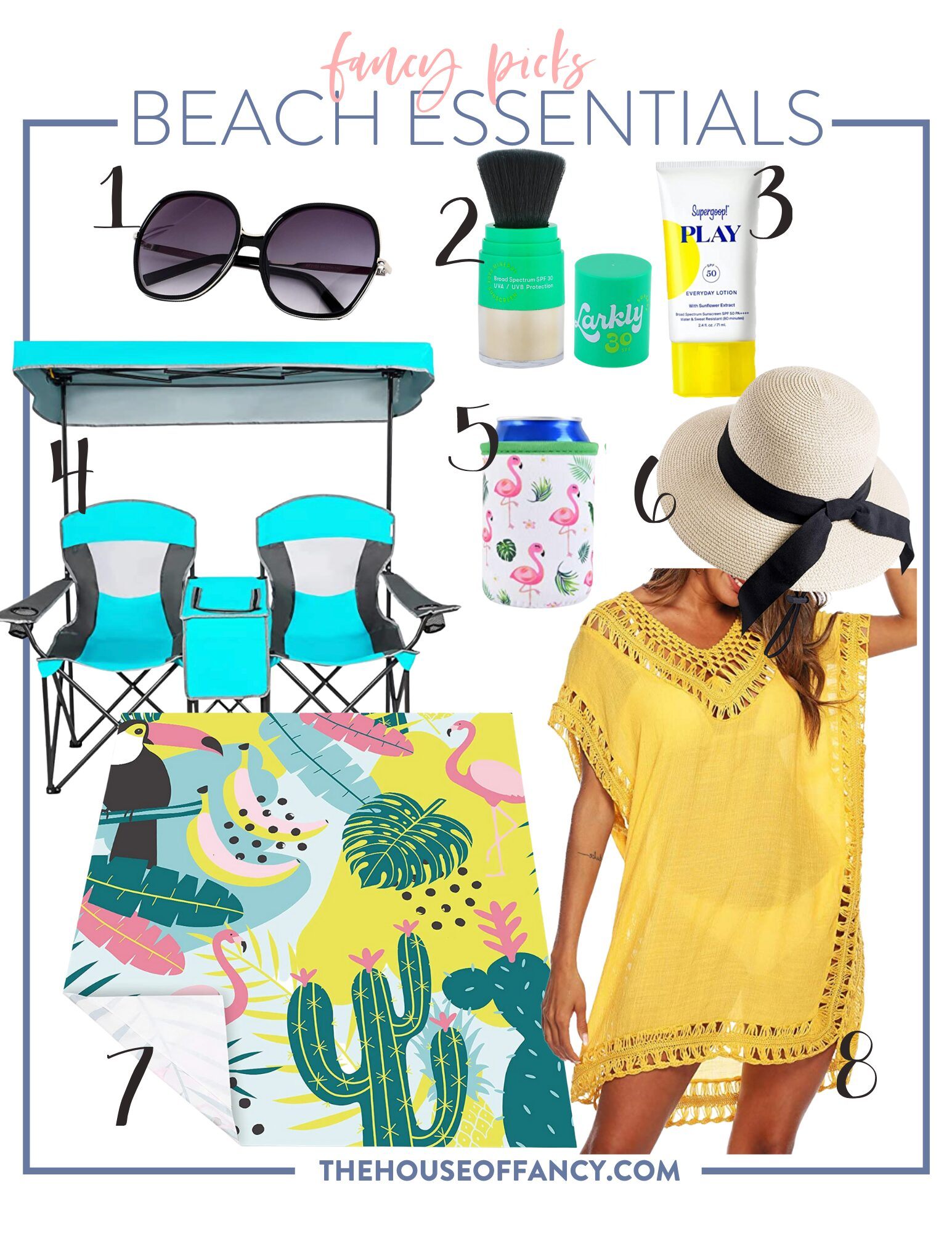 items for a beach vacation | items for a beach vacation | Beach Vacation Essentials by popular Houston life and style blog, The House of Fancy: collage image of a yellow swimsuit coverup, flamingo and cactus print towel, flamingo can cozy, straw sun hat, black frame sunglasses, Supergoop! Play sunscreen, Larky shimmer powder, and foldable chair and canopy set.