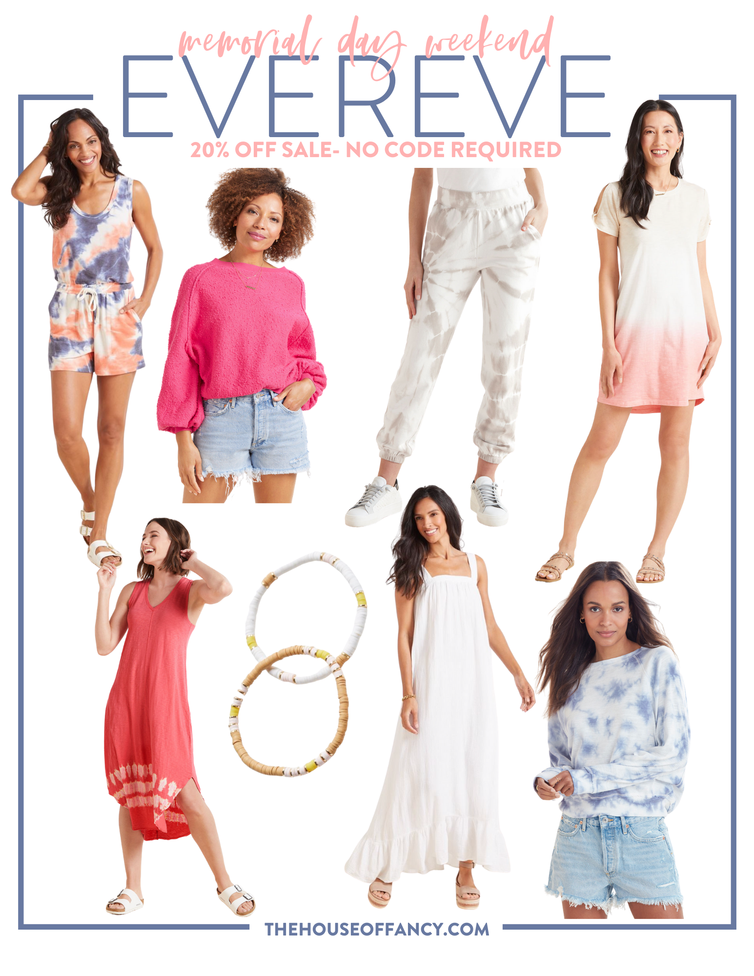 Memorial Day Sales by popular Houston life and style blog, The House of Fancy: collage image of Evereve tie dye romper, Evereve puff sleeve top, Evereve tie dye jogger pants, Evereve ombre t-shirt dress, Evereve white and brown bead bracelets, Evereve white ruffle hem maxi dress, Evereve blue and white tie dye sweatshirt, and Evereve tie dye hem sleeveless dress.
