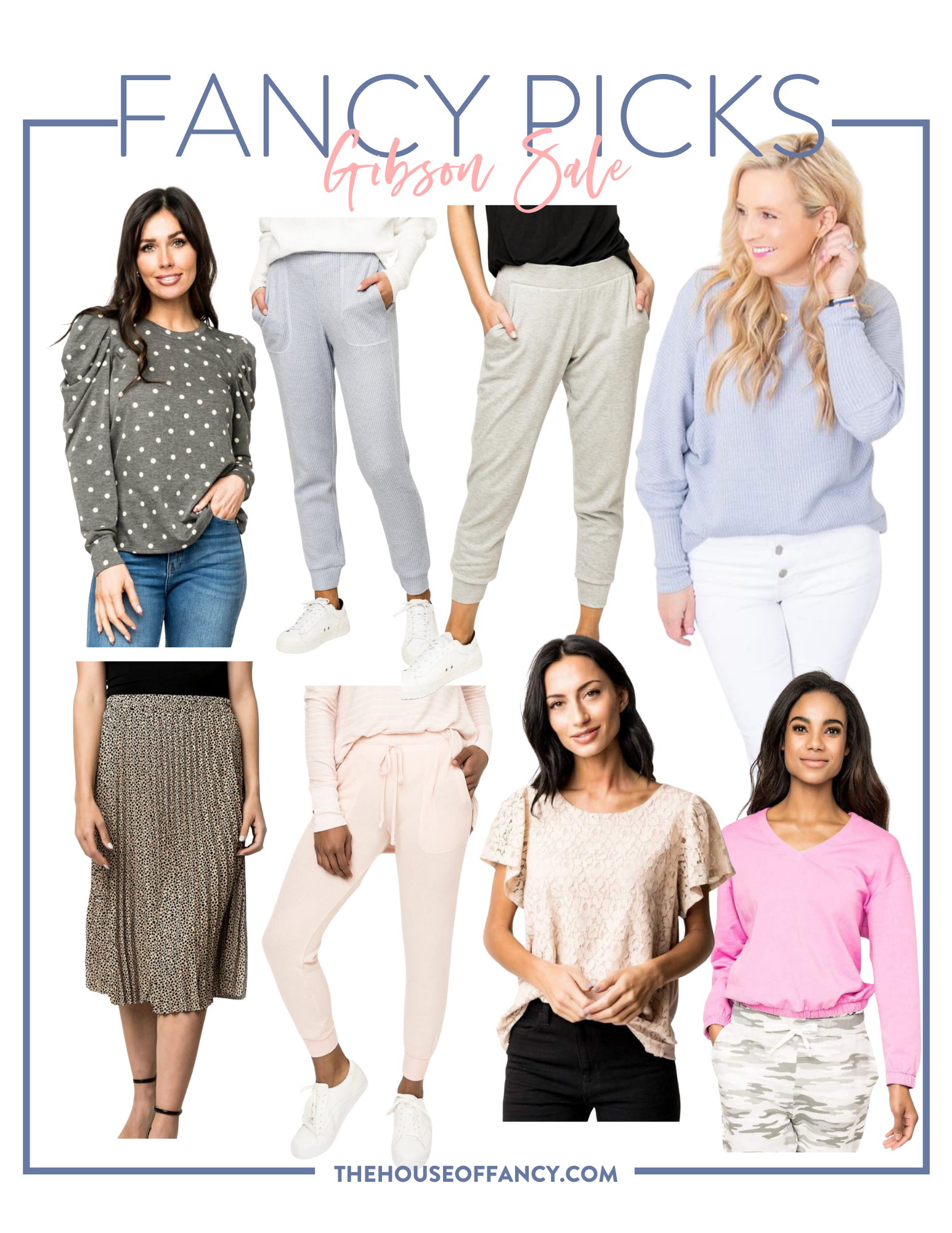 Memorial Day Sales by popular Houston life and style blog, The House of Fancy: collage image of a Gibson polka dot princess sleeve top, Gibson grey jogger pants, Gibson purple rib knit sweater, Gibson black and white pleated skirt, Gibson pink sweatshirt and jogger pants set, Gibson cream lace top, and Gibson pink long sleeve blouse.