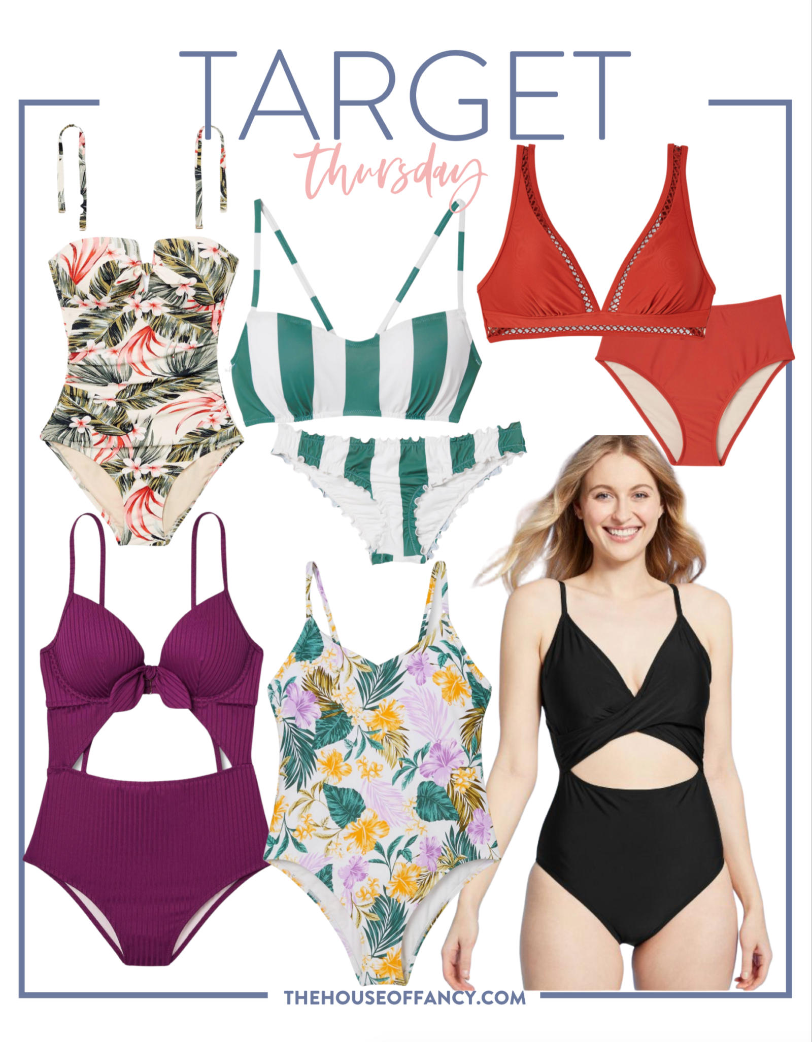 Target Swimsuits by popular Houston fashion blog, The House of Fancy: collage image of Target one piece and two piece swimsuits.