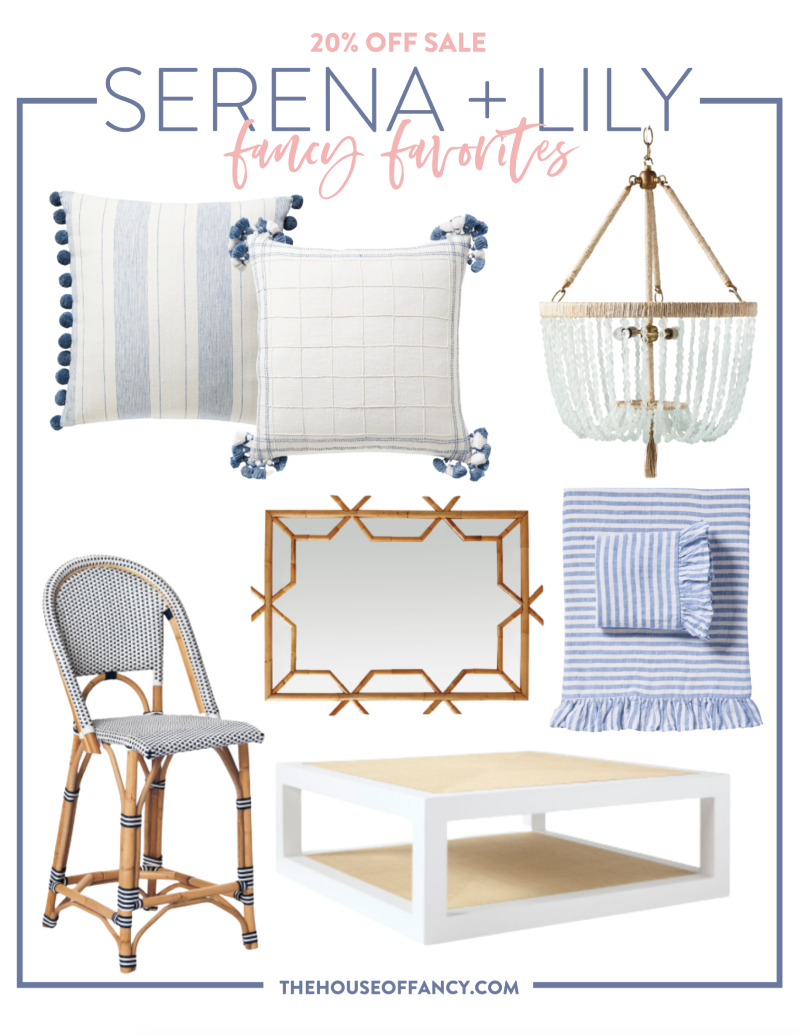 Memorial Day Sales by popular Houston life and style blog, The House of Fancy: collage image of Serena and Lily blue and white throw pillows, Serena and Lily blue bead chandelier, Serena and Lily bamboo frame mirror, Serena and Lily blue and white stripe bedding, Serena and Lily bistro chair, Serena and Lily white and light wood coffee table.
