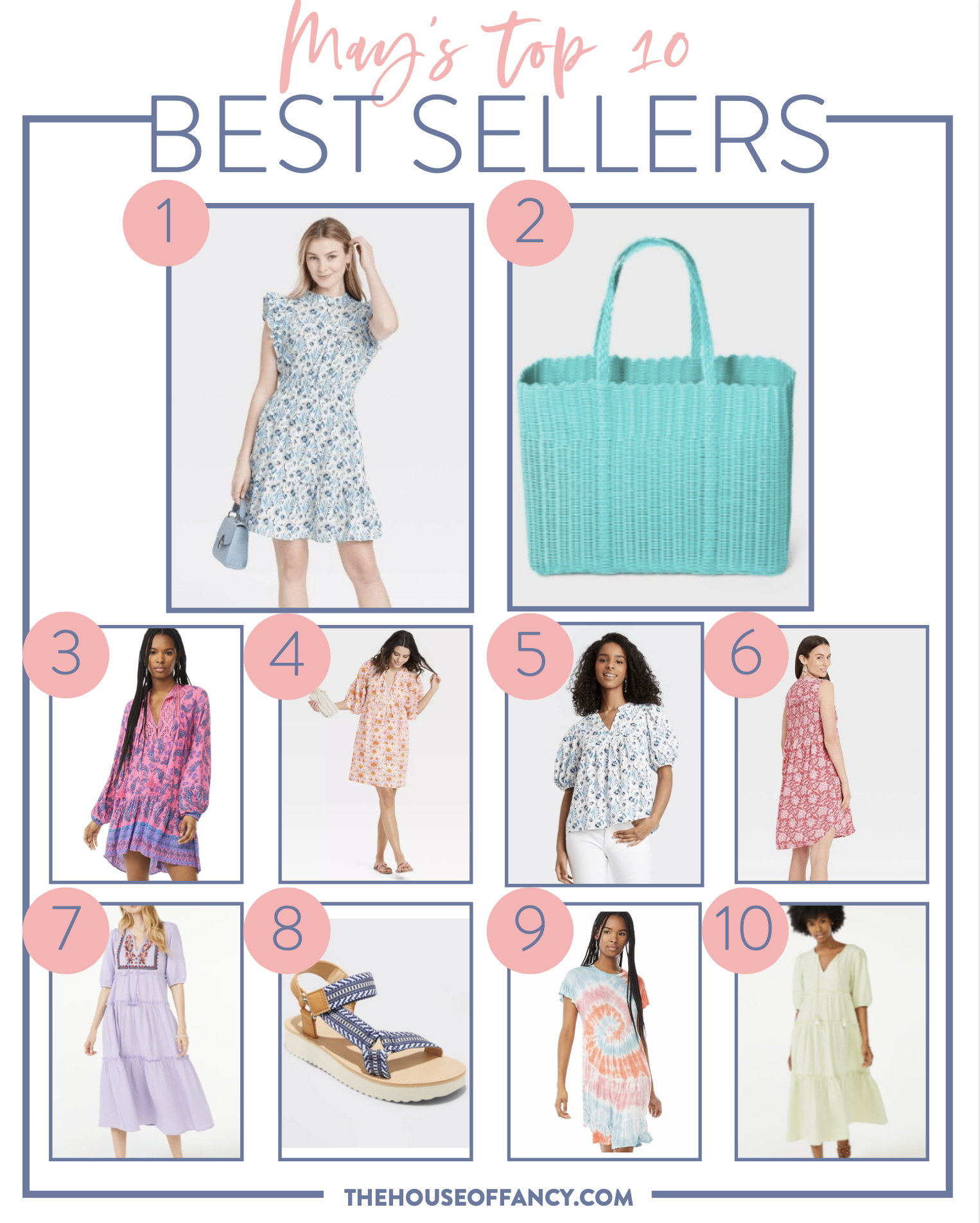 Best Sellers by popular Houston fashion blog, The House of Fancy: collage image of a blue and white floral print flutter sleeve dress, woven blue tote bag, pink and blue paisley print dress, white and blue flora print puff sleeve top, pink and white floral print sleeveless dress, purple floral embroidered tiered maxi dress, blue and white stripe strap sandals tie dye t-shirt dress, yellow tiered maxi dress, and pink floral print dress.