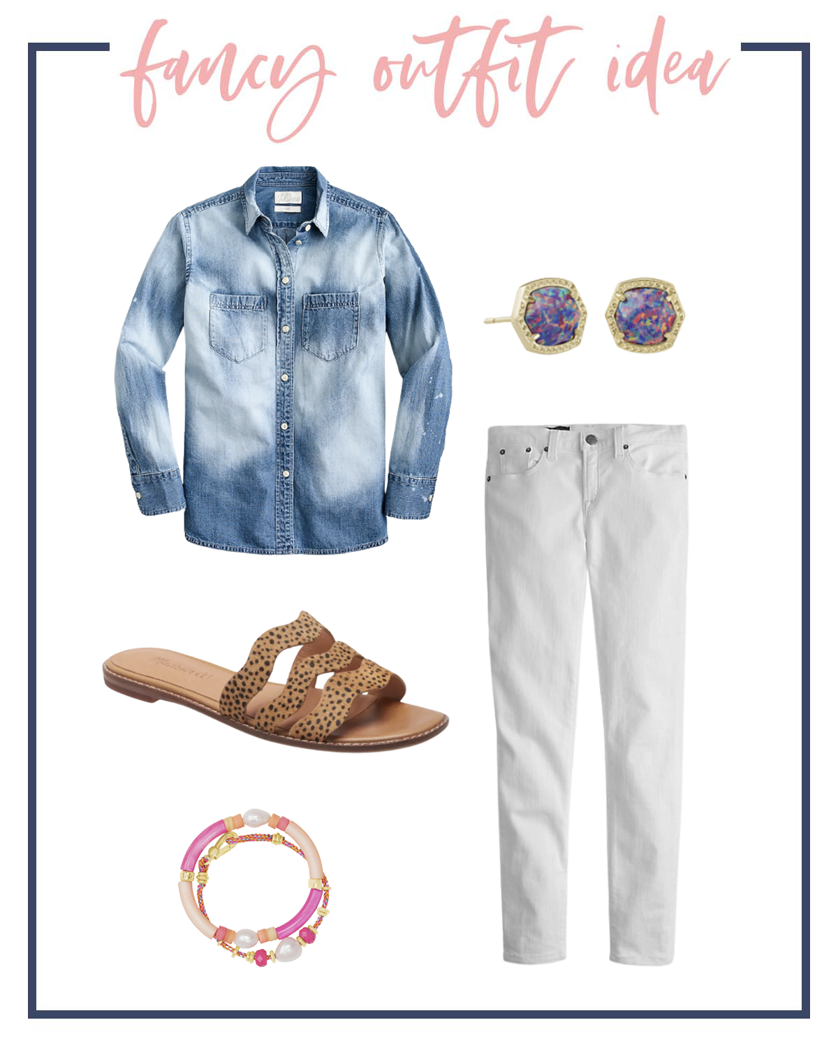 Summer Outfits by popular Houston fashion blog, The House of Fancy: collage image of a denim shirt, multicolor post earrings, leopard print slide sandals, white jeans, and pink and orange stretch bracelets.