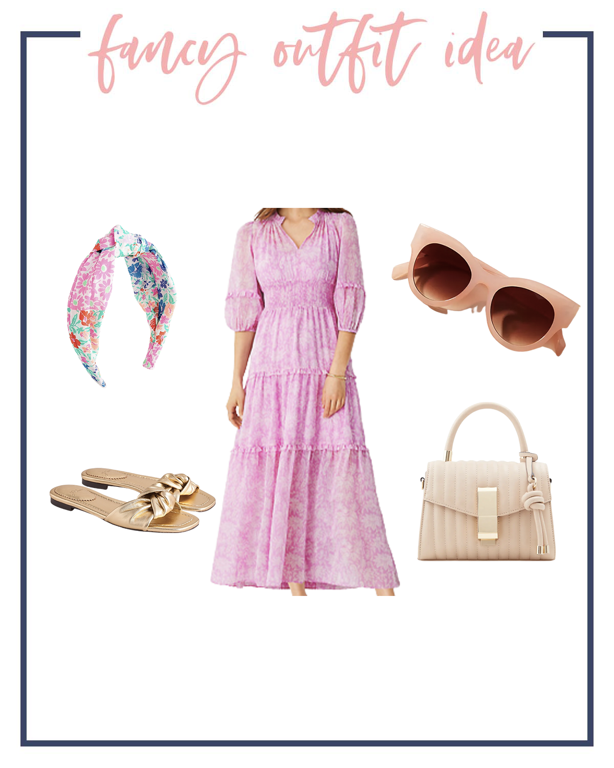 Summer Outfits by popular Houston fashion blog, The House of Fancy: collage image of a floral knot headband, gold slide sandals, cream handbag, peach frame sunglasses, and pink and white floral print maxi dress.