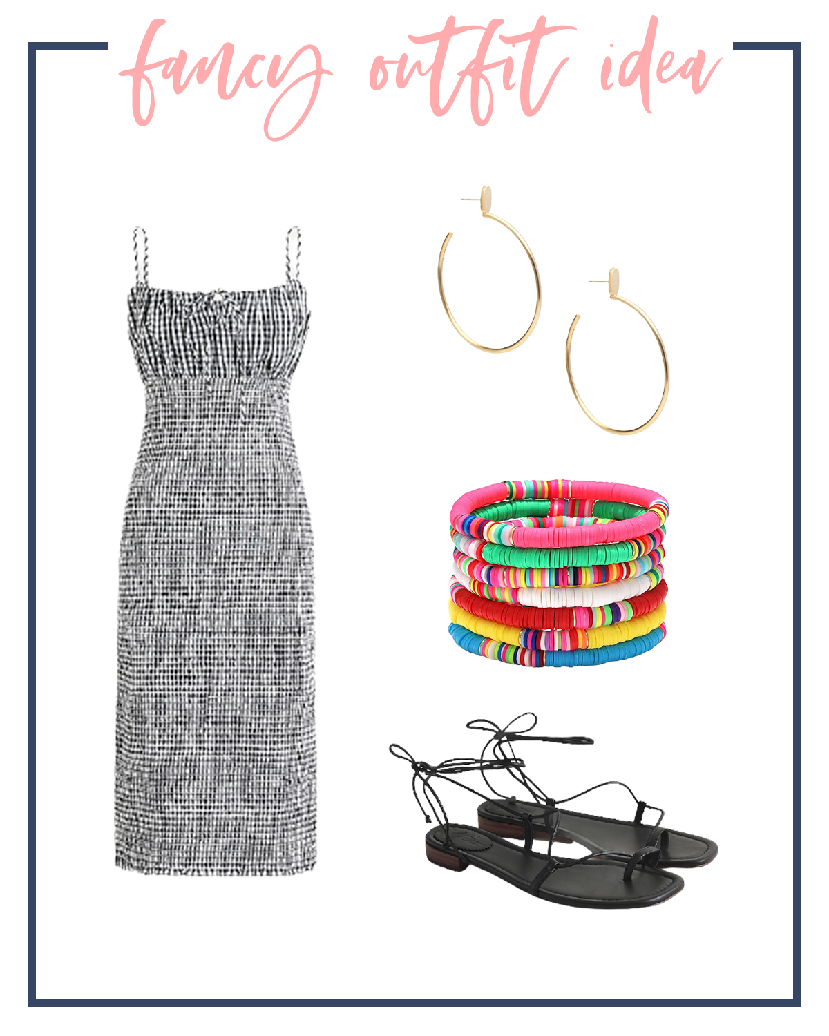 Summer Outfits by popular Houston fashion blog, The House of Fancy: collage image of a black and white gingham dress, gold hoop earrings, black slide sandals, and multi color stretch bracelets.
