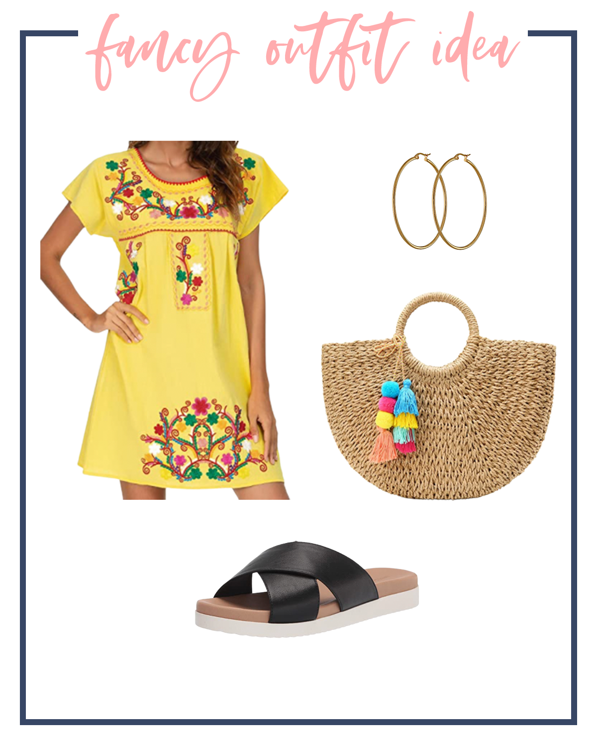 Summer Outfits by popular Houston fashion blog, The House of Fancy: collage image of a yellow floral embroidered mini dress, gold hoops, black cross strap slide sandals, and a woven tote with tassel accessories.
