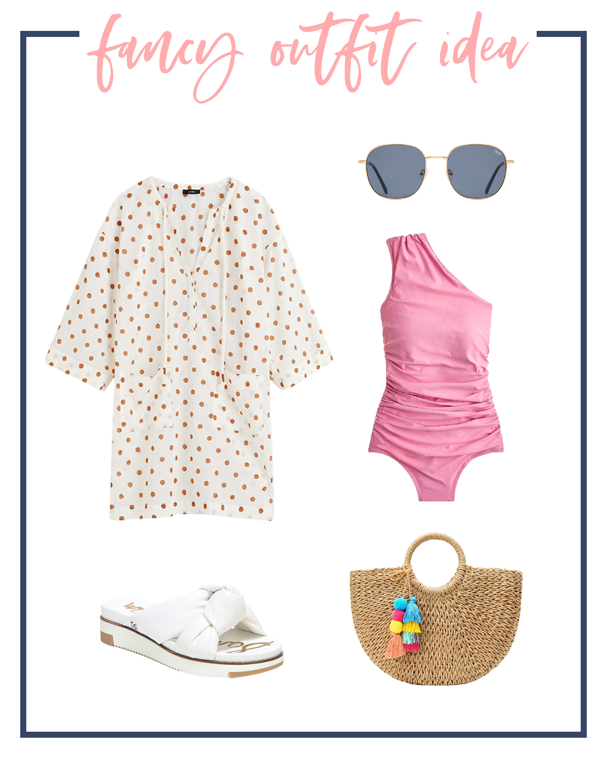 Summer Outfits by popular Houston fashion blog, The House of Fancy: collage image of a white and gold dot swimsuit coverup, pink one shoulder swimsuit, white knot strap slide sandals, sunglasses, and woven tote.