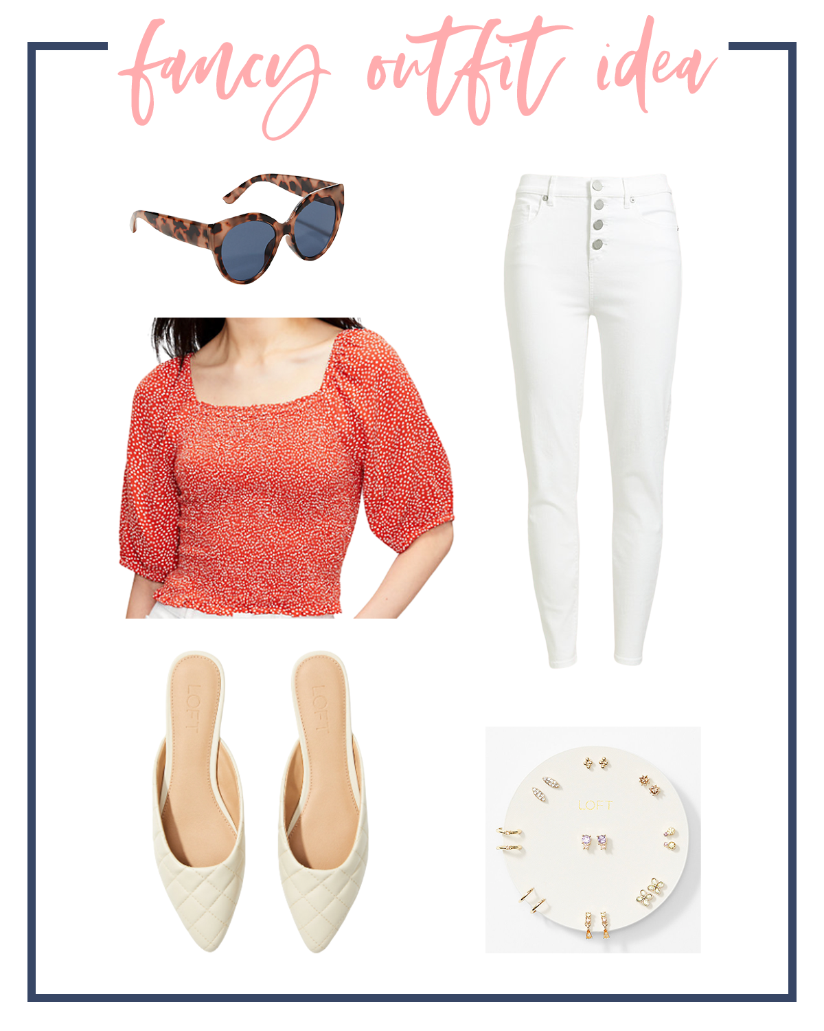 Summer Outfits by popular Houston fashion blog, The House of Fancy: collage image of red and white floral print top, white jeans, gold post earrings, tortoise shell sunglasses, and white point toe slides.