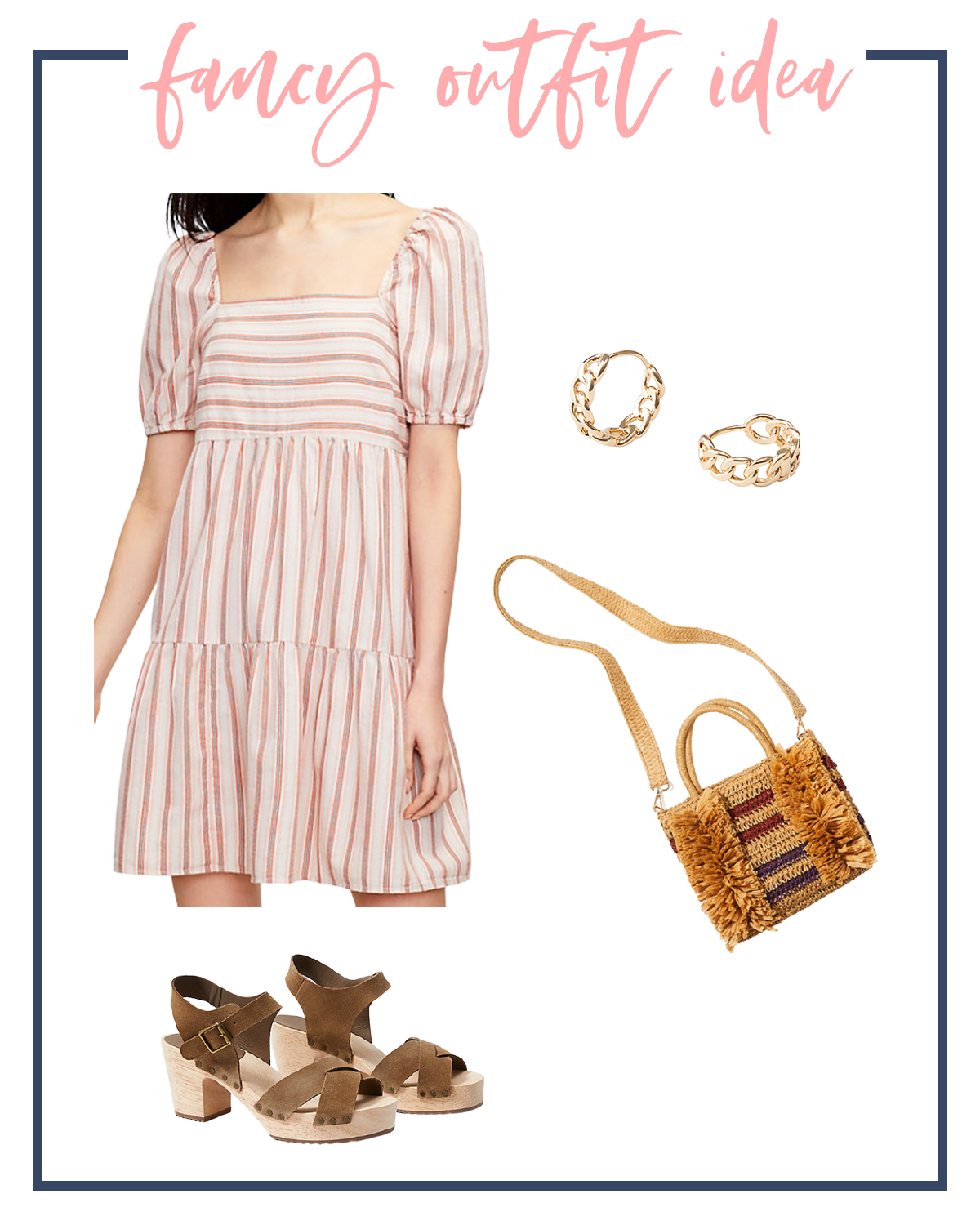 Summer Outfits by popular Houston fashion blog, The House of Fancy: collage image of a white and red puff sleeve babydoll dress, gold hoop earrings, brown strap clog sandals, and woven fringe tote.