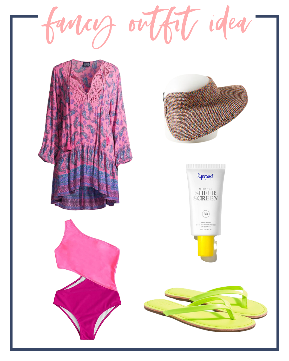 Summer Outfits by popular Houston fashion blog, The House of Fancy: collage image of a pink paisley swimsuit coverup, woven sun visor, Supergoop sunscreen, neon green flip flops, and pink color block cut out one strap shoulder.