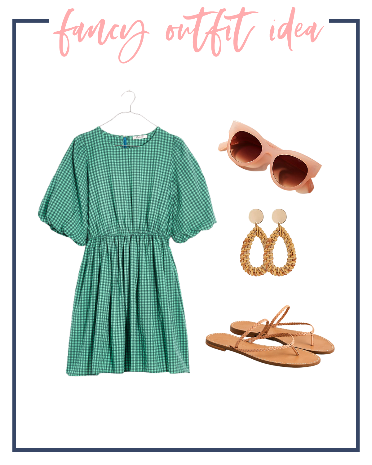 Summer Outfits by popular Houston fashion blog, The House of Fancy: collage image of green gingham babydoll dress, peach frame sunglasses, gold statement earrings, and brown strap sandals.