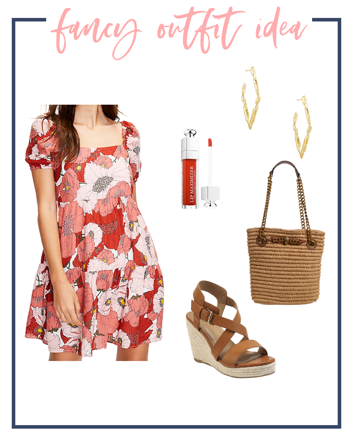 Summer Outfits by popular Houston fashion blog, The House of Fancy: collage image of red floral print baby doll, brown strap espadrilles, woven tote, red lipgloss, and gold hoop earrings.