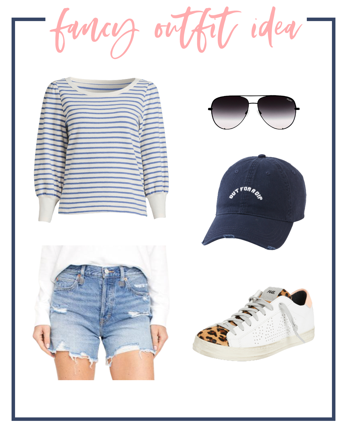 Summer Outfits by popular Houston fashion blog, The House of Fancy: collage image of a blue and white stripe sweater, blue baseball cap, aviator sunglasses, cutoff denim shorts and leopard print sneakers.