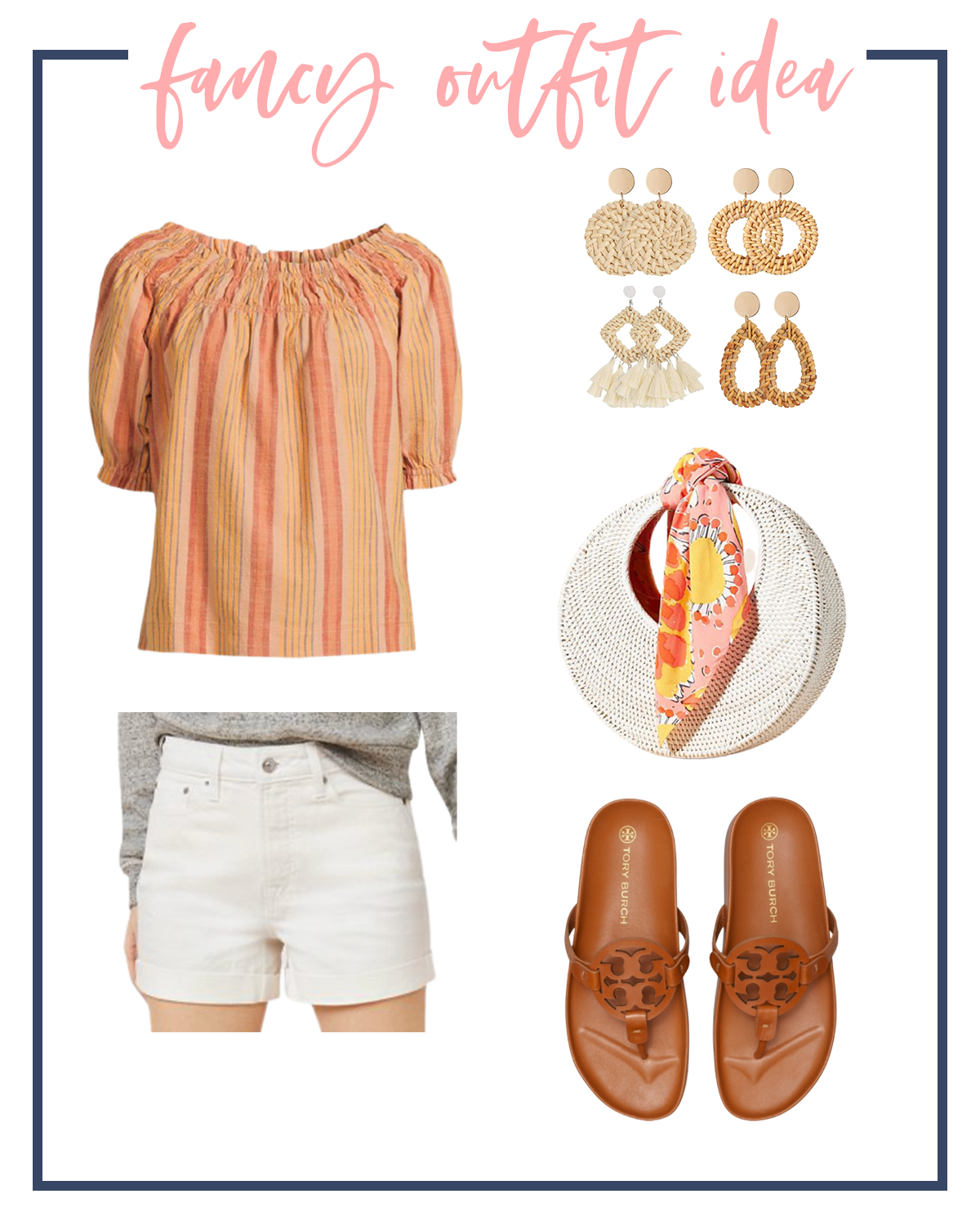 Summer Outfits by popular Houston fashion blog, The House of Fancy: collage image of orange and yellow stripe peasant top, raffia statement earrings, white woven handbag, brown Tory Burch slide sandals, and white shorts.