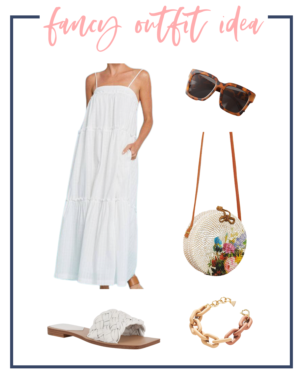 Summer Outfits by popular Houston fashion blog, The House of Fancy: collage image of a white maxi dress, white woven strap slide sandals, resin chain link bracelet, tortoise shell sunglasses, and floral white wicker circle bag.