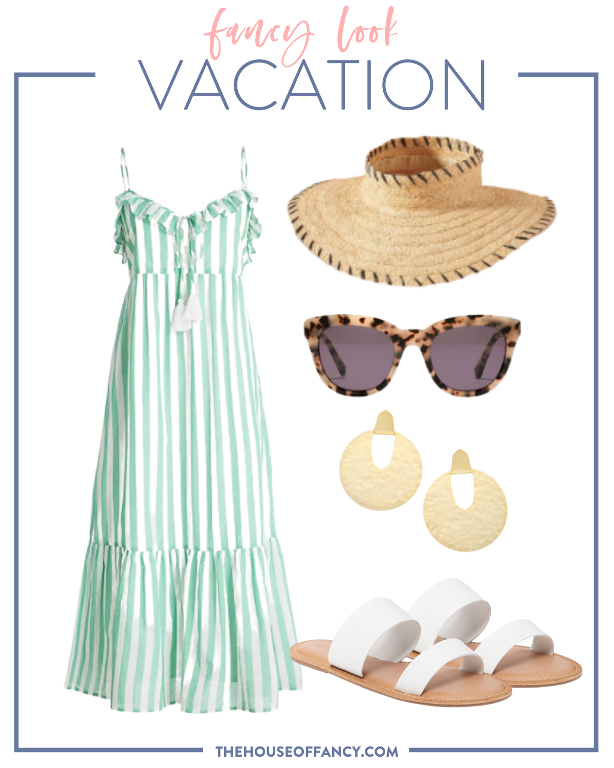 Summer Outfit Ideas by popular Houston fashion blog, The House of Fancy: collage image of white and green stripe maxi dress straw sunhat, tortoise shell frame sunglasses, gold statement earrings, white strap sandals.