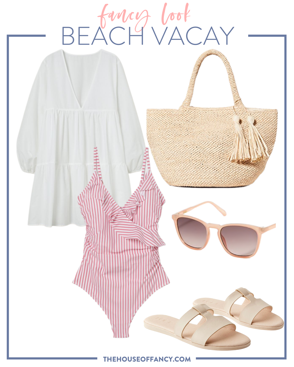 Summer Outfit Ideas by popular Houston fashion blog, The House of Fancy: collage image of white babydoll dress, pink and white stripe swimsuit, woven tote, sunglasses and tan strap sandals.