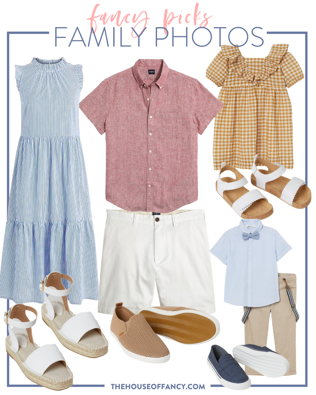 fancy Ashley family photo looks   Family Photo Outfits by popular Houston fashion blog, The House of Fancy: collage image of a blue stripe tiered maxi dress, red button up shirt, white shorts, white espadrilles, tan sneakers, white strap sandals, blue button up shirt, orange gingham dress, blue boater sneakers, and tan pants with blue suspenders.