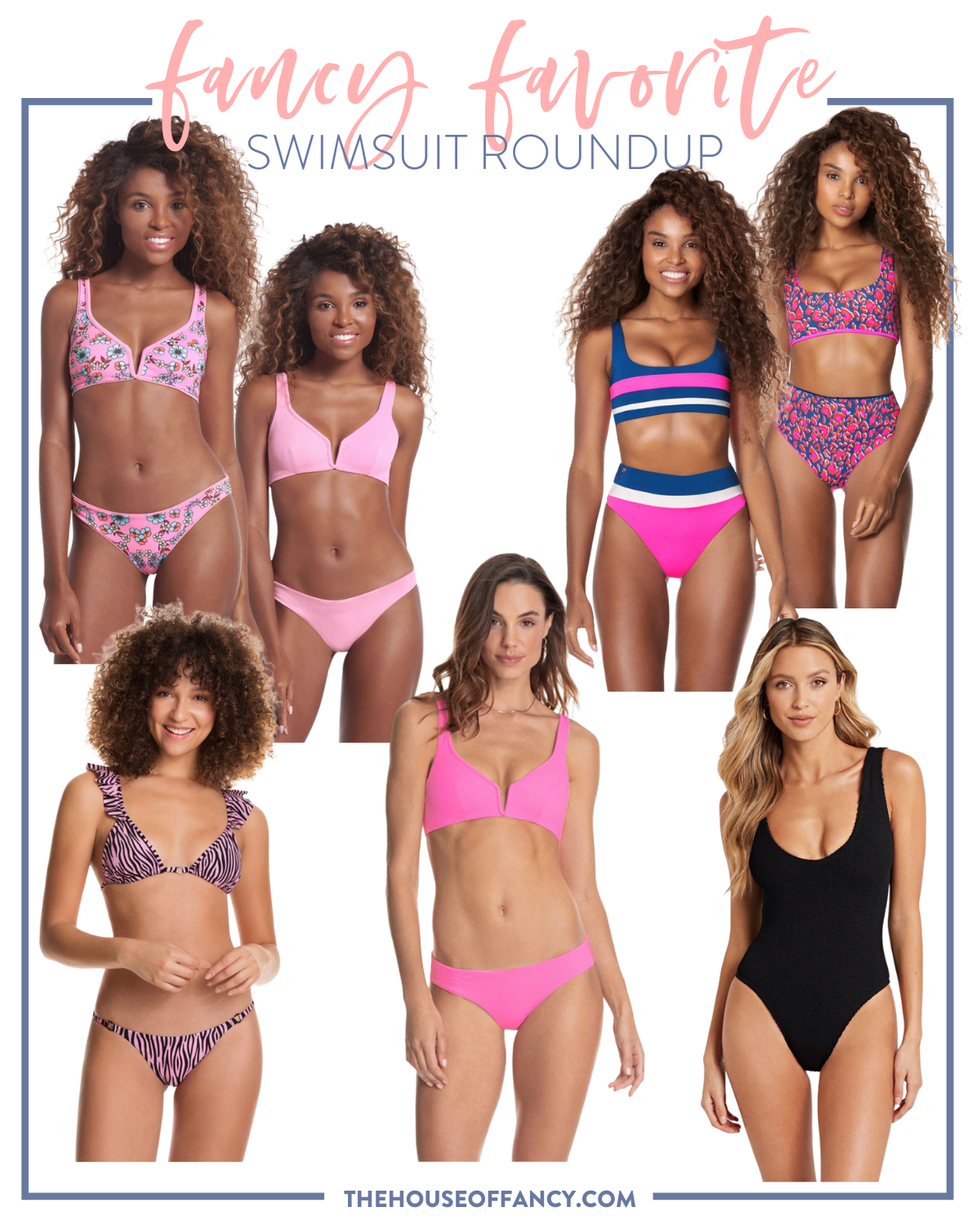 woman's swimsuits packed on beach vacation | Beach Vacation by popular Houston fashion blog, The House of Fancy: collage image of pink two piece swimsuits, black one pice swimsuit, blue and pink two piece swimsuit and a pink and black zebra stripe swimsuit.
