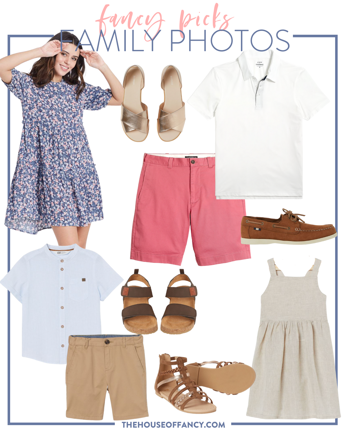 fancy Ashley family photo looks   Family Photo Outfits by popular Houston fashion blog, The House of Fancy: collage image of a floral print dress, coral pink shorts, white button up shirt, brown strap sandals, brown loafers, tan shorts, brown strap gladiator sandals, and tan linen dress.