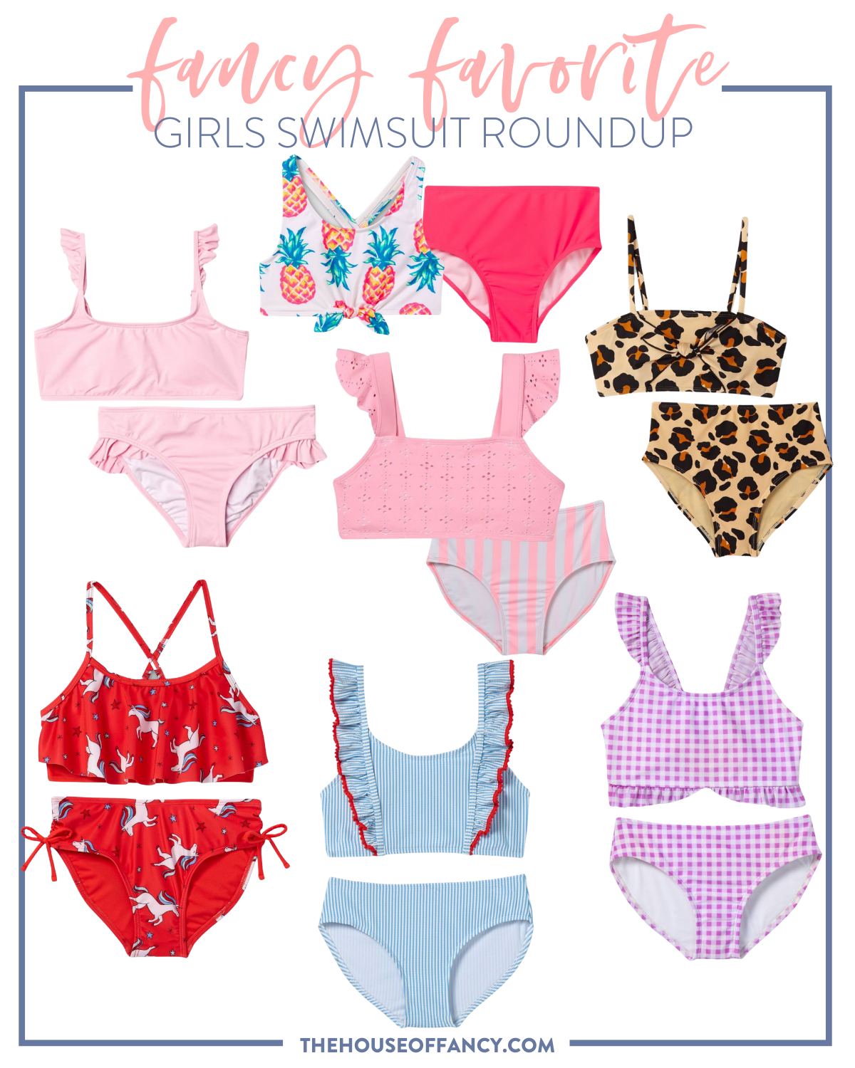 Girl's swimsuits packed on beach vacation  | Beach Vacation by popular Houston fashion blog, The House of Fancy: collage image of girls two piece swimsuits.