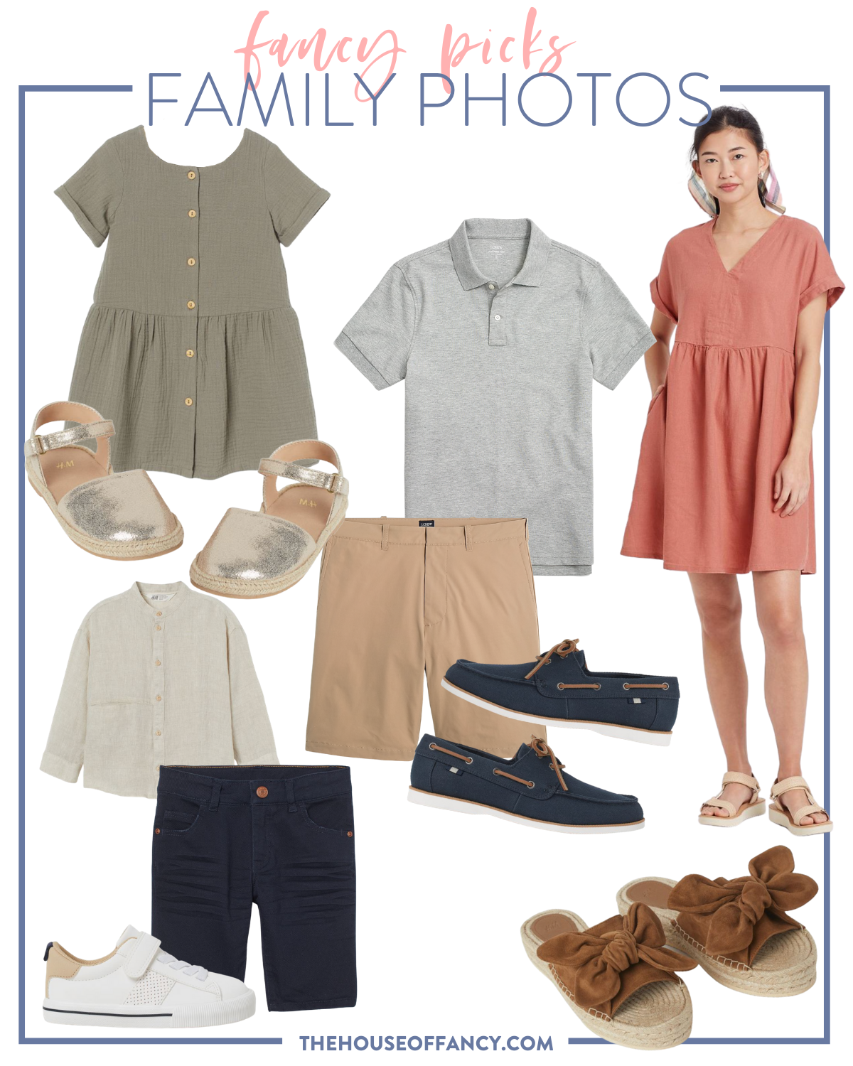 fancy Ashley family photo looks   Family Photo Outfits by popular Houston fashion blog, The House of Fancy: collage image of a olive green button front dress, grey polo shirt, gold espadrilles, tan shorts, red dress, blue loafers, tan linen shirt, blue shorts, white sneakers, and brown bow strap espadrilles.