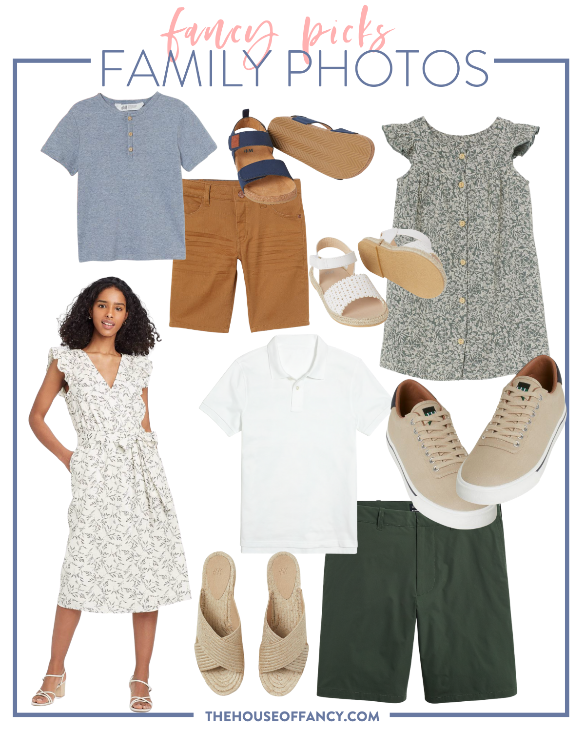 Family Photo Outfits by popular Houston fashion blog, The House of Fancy: collage image of green shorts, tan espadrilles, black and white floral print flutter sleeve midi dress, white polo shirt, tan sneakers, grey floral print button up shirt, white strap espadrille sandals, tan shorts, blue shirt, and blue strap sandals.
