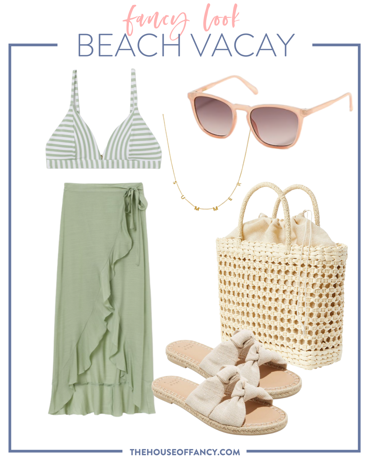 Summer Outfit Ideas by popular Houston fashion blog, The House of Fancy: collage image of a green and white stripe bikini top, green wrap maxi skirt, summer necklace, sunglasses, tan strap espadrille sandals, and woven tote.