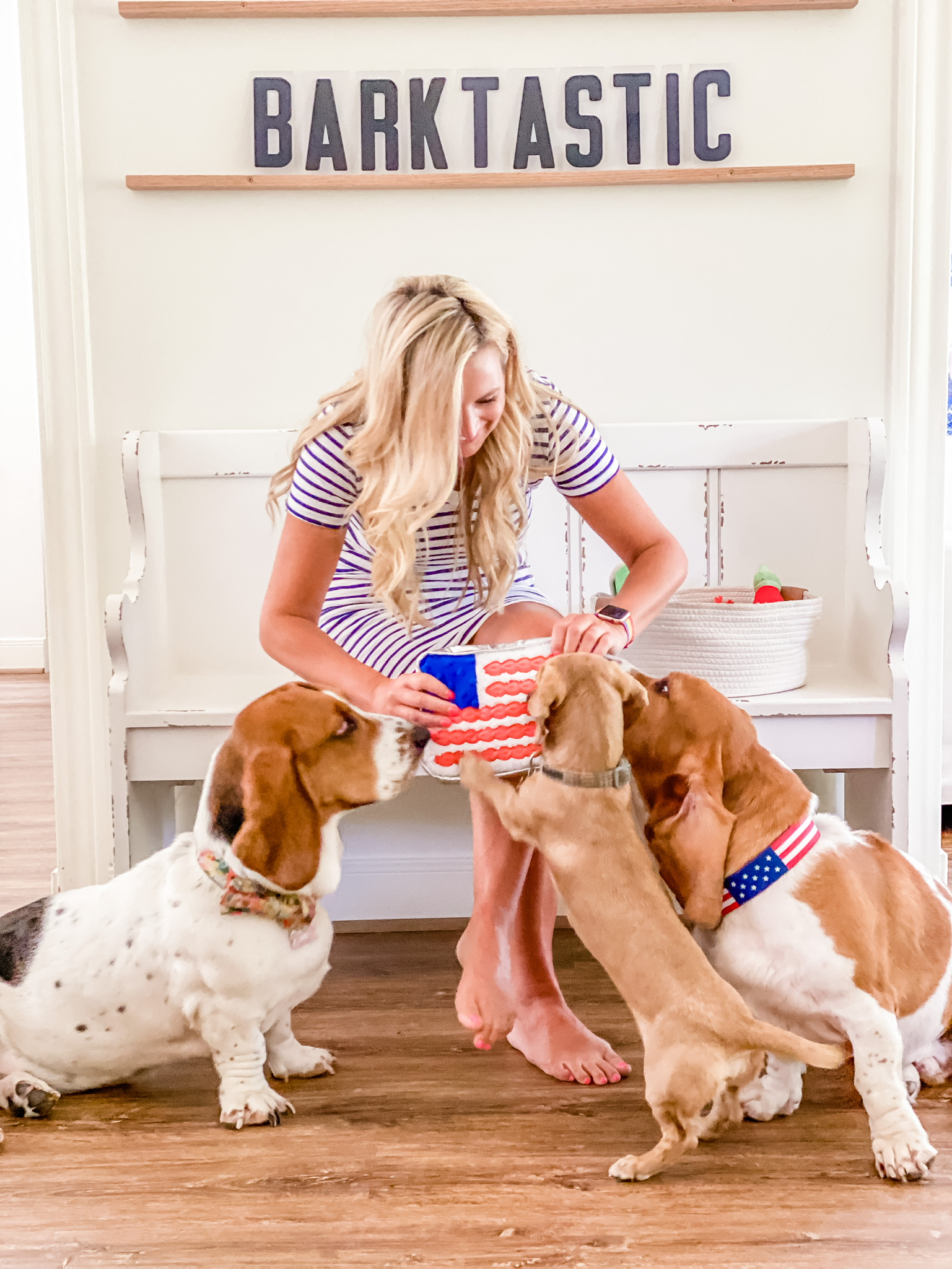 Target Dog Toys by popular Houston lifestyle blog, The House of Fancy: image of a woman wearing a blue and white stripe t-shirt dress and sitting on a white wooden bench next to her three dogs and white woven basket filled with dog toys.