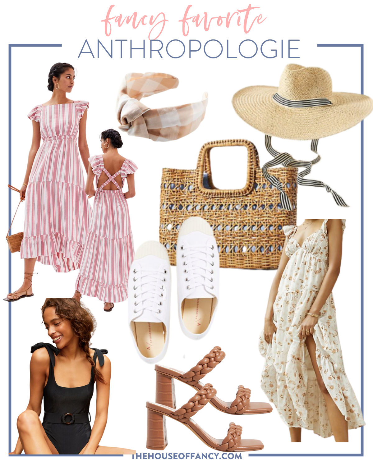 Summer Dress by popular Houston fashion blog, The House of Fancy: collage image of a pink and white stripe flutter sleeve dress, buffalo plaid knot headband, straw sunhat, wicker hand tote, white sneakers, black one piece swim piece, braided strap block heel sandals, and floral print tiered maxi dress.