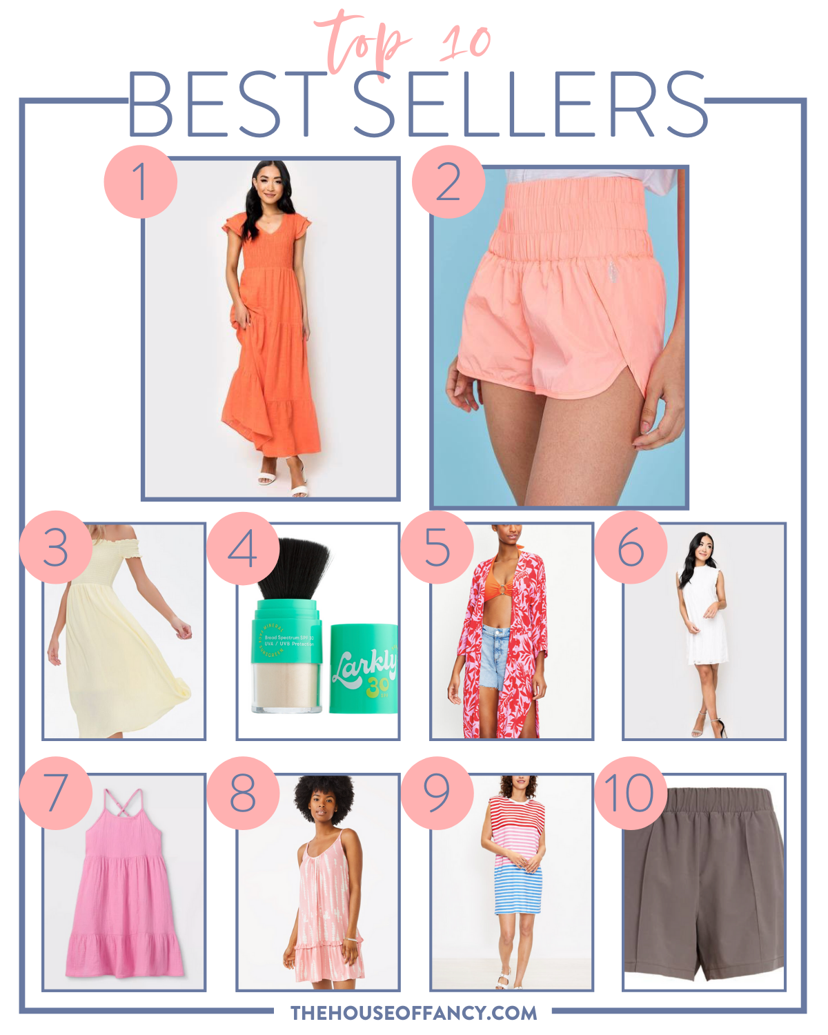 Best Sellers by poplar Houston fashion blog, The House of Fashion: collage image of orange flutter sleeve maxi dress, pink smock waist shorts, yellow smock off the shoulder maxi dress, darkly highlighter, pink tropical print kimono, and white sleeveless dress.