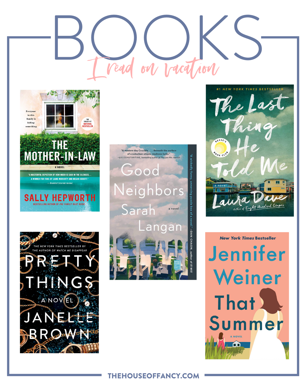 Best Beach Reads by popular Houston lifestyle blog, The House of Fancy: collage image of the books Pretty Things, That summer, Good Neighbors, The Last Thing He Told Me, and The Mother-In-Law.